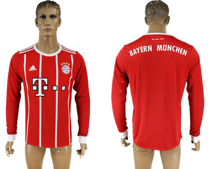 Men 2017-2018 Club Bayern Munich home long sleeve aaa version soccer jersey