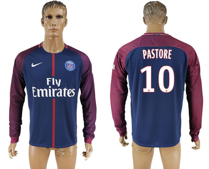 Hommes 2017-2018 Club Paris saint germain domicile à domicile manches longues aaa version 10 PASTORE maillot de football