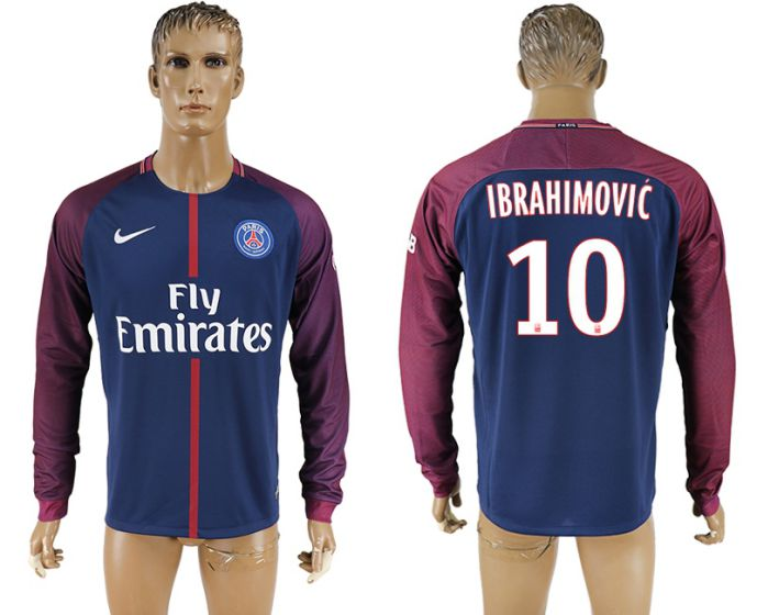 Men 2017-2018 Club Paris saint germain home home long sleeve aaa version 10 soccer jersey