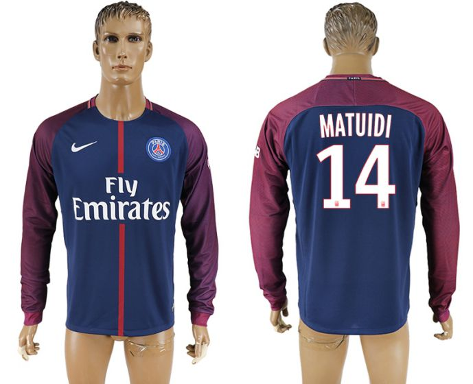 Men 2017-2018 Club Paris saint germain home home long sleeve aaa version 14 soccer jersey