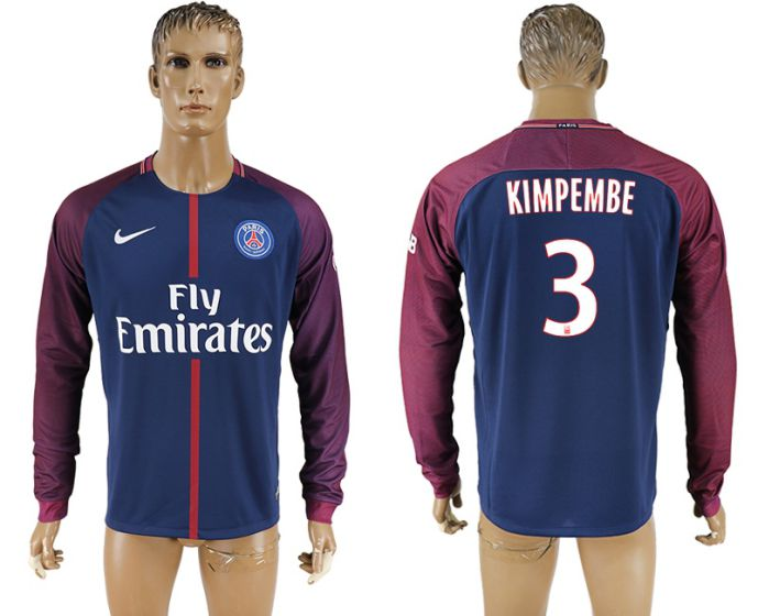 Men 2017-2018 Club Paris saint germain home home long sleeve aaa version 3 soccer jersey