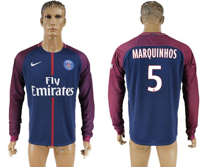Men 2017-2018 Club Paris saint germain home home long sleeve aaa version 5 soccer jersey