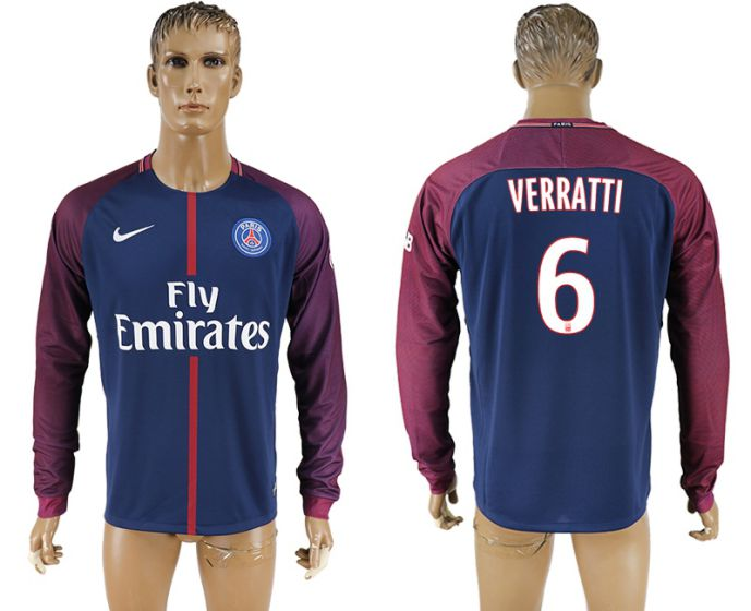 Men 2017-2018 Club Paris saint germain home home long sleeve aaa version 6 soccer jersey