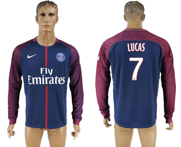 Men 2017-2018 Club Paris saint germain home home long sleeve aaa version 7 soccer jersey