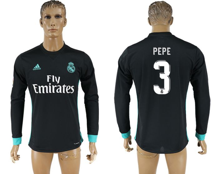 9ebd09640d6 ... men 2017 2018 club real madrid away long sleeve aaa version 3 pepe  soccer jersey