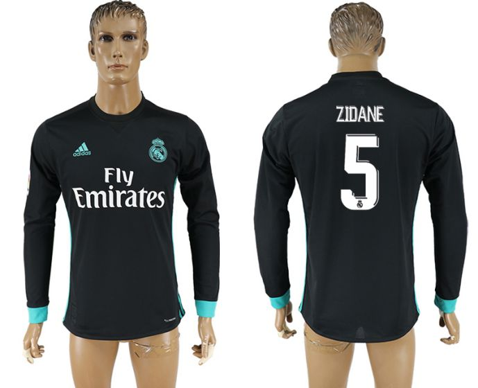 Men 2017-2018 Club Real Madrid away long sleeve aaa version 5 Zidane soccer jersey
