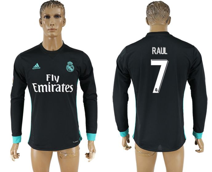 Men 2017-2018 Club Real Madrid away long sleeve aaa version 7 Raul soccer jersey