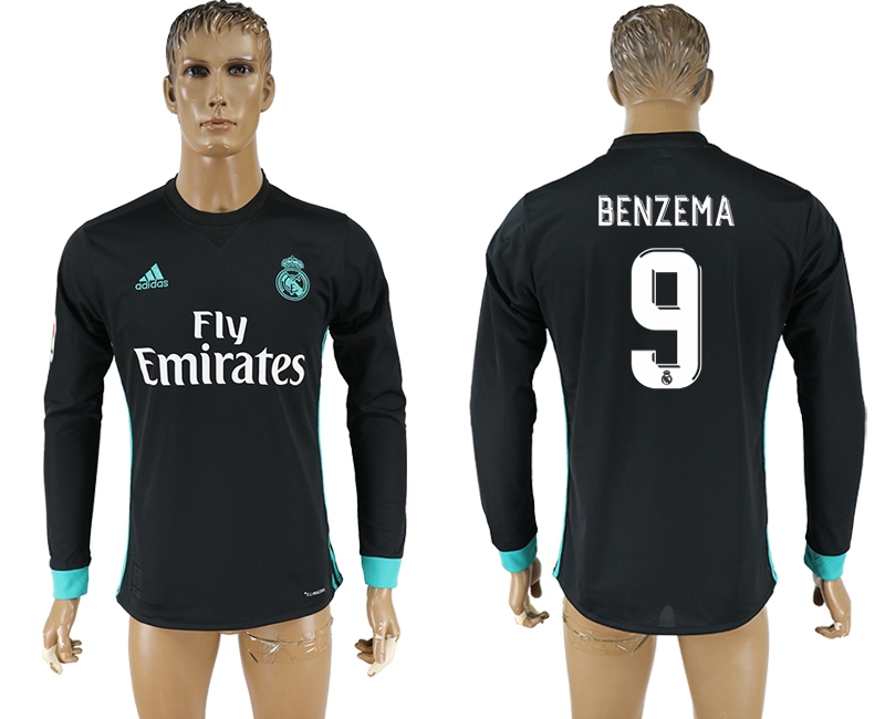 Men 2017-2018 Club Real Madrid away long sleeve aaa version 9 soccer jersey