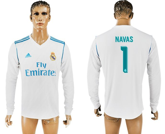 Men 2017-2018 Club Real Madrid home long sleeve aaa version 1 soccer jersey