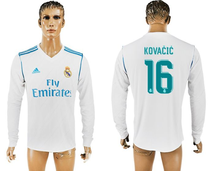 Men 2017-2018 Club Real Madrid home long sleeve aaa version 16 soccer jersey