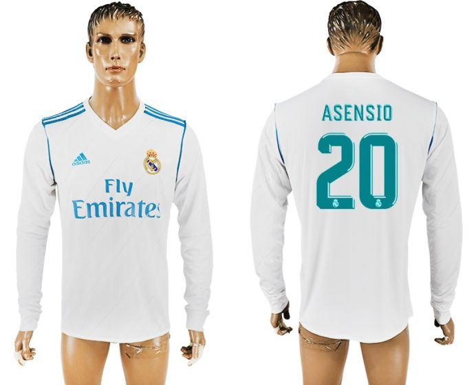 Men 2017-2018 Club Real Madrid home long sleeve aaa version 20 soccer jersey