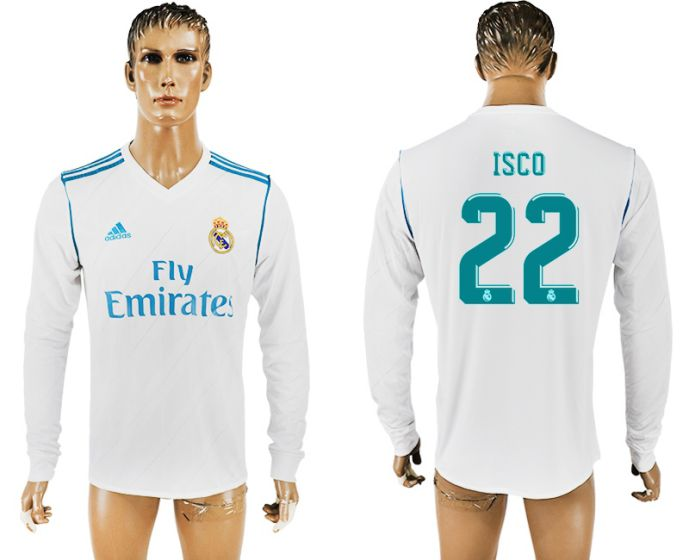 Hommes 2017-2018 Club Real Madrid domicile manches longues aaa version 22 maillot de football