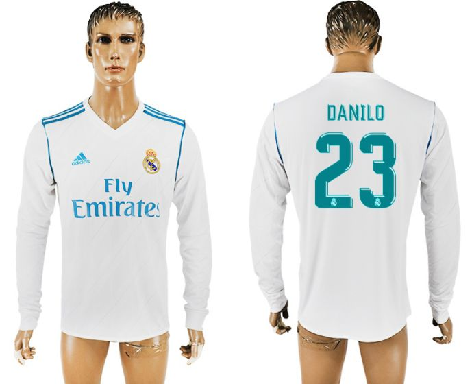 Men 2017-2018 Club Real Madrid home long sleeve aaa version 23 soccer jersey