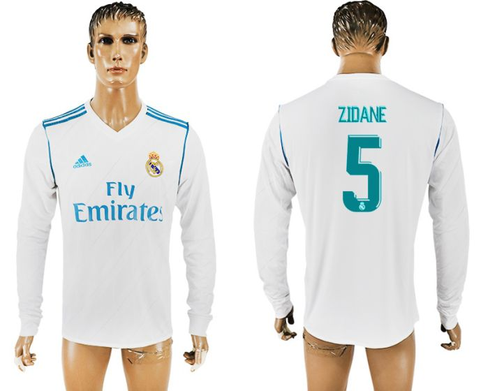 Men 2017-2018 Club Real Madrid home long sleeve aaa version 5 ZIDANE soccer jersey