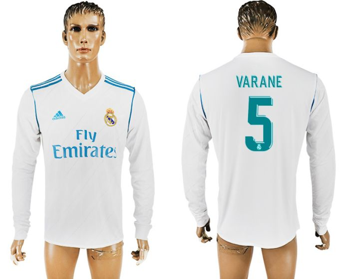 Men 2017-2018 Club Real Madrid home long sleeve aaa version 5 soccer jersey