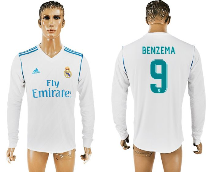 Men 2017-2018 Club Real Madrid home long sleeve aaa version 9 soccer jersey