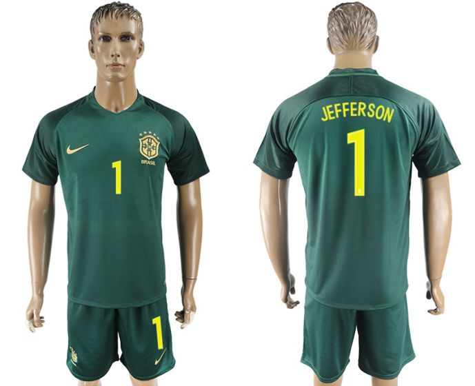 Men 2017-2018 National Brazil away 1 Jefferson soccer jersey