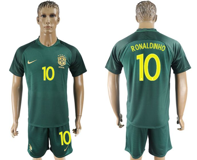 Men 2017-2018 National Brazil away 10 Ronaldinho soccer jersey