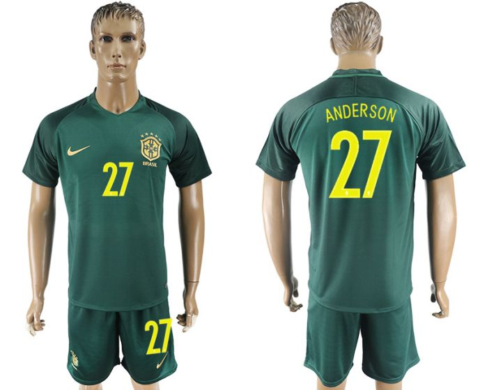 Men 2017-2018 National Brazil away 27 soccer jersey