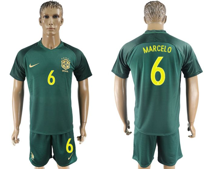 Men 2017-2018 National Brazil away 6 Marcelo soccer jersey