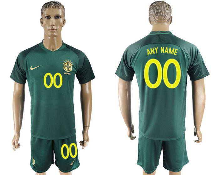 Men 2017-2018 National Brazil away customized soccer jersey