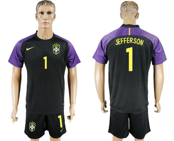 Men 2017-2018 National Brazil black Goalkeeper Soccer Jersey 1 Jefferson soccer jersey