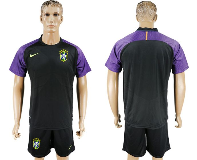 Men 2017-2018 National Brazil black Goalkeeper Soccer Jersey soccer jersey
