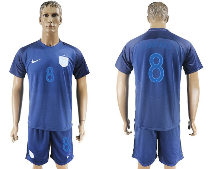 Men 2017-2018 National England away 8 blue soccer jersey