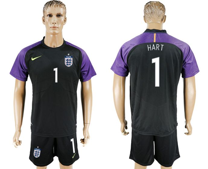 Men 2017-2018 National England black Goalkeeper Soccer Jersey 1 Hart soccer jersey