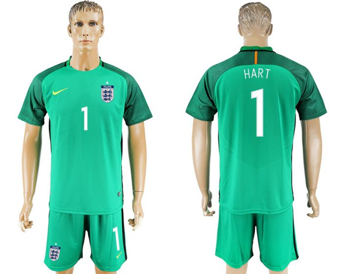 Men 2017-2018 National England green goalkeeper 1 Hart soccer jersey