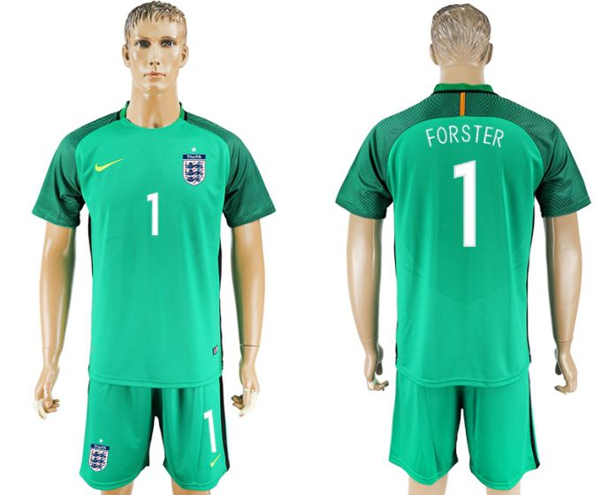 Men 2017-2018 National England green goalkeeper 1 soccer jersey