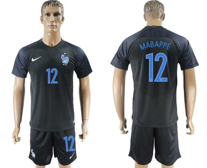 Men 2017-2018 National France away 12 soccer jersey
