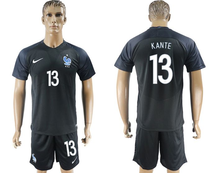 Men 2017-2018 National France away 13 soccer jersey