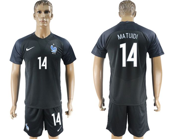 Men 2017-2018 National France away 14 soccer jersey