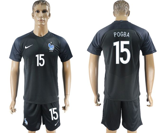 Men 2017-2018 National France away 15 Pogba soccer jersey