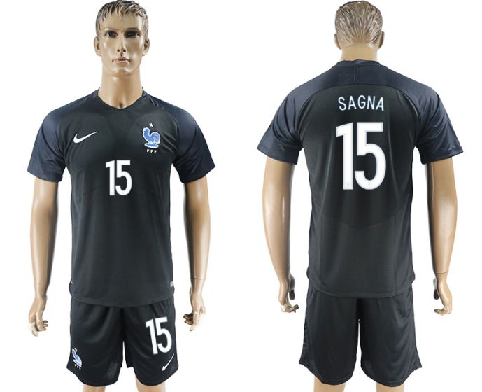 Men 2017-2018 National France away 15 Sagna soccer jersey
