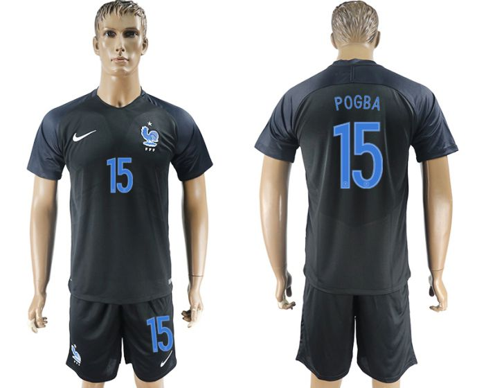 Men 2017-2018 National France away 15 soccer jersey