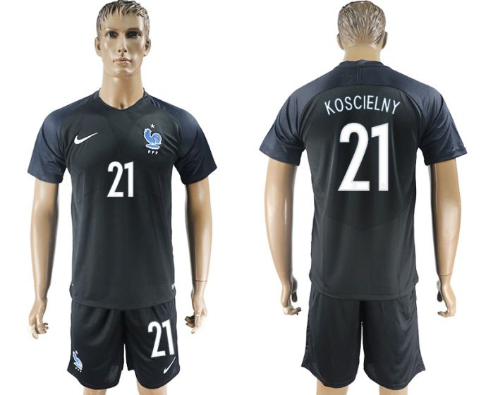 Men 2017-2018 National France away 21 soccer jersey