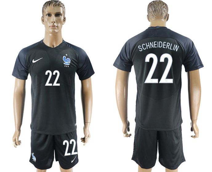 Men 2017-2018 National France away 22 black soccer jersey