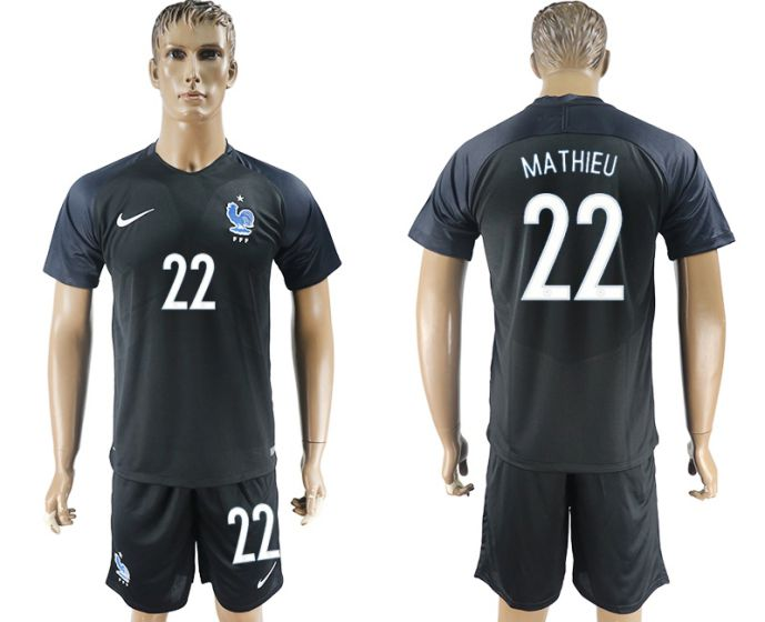 Men 2017-2018 National France away 22 soccer jersey