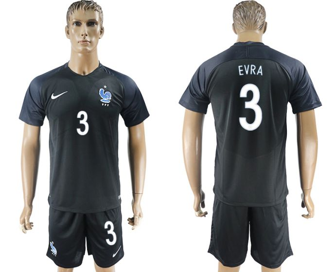 Men 2017-2018 National France away 3 soccer jersey