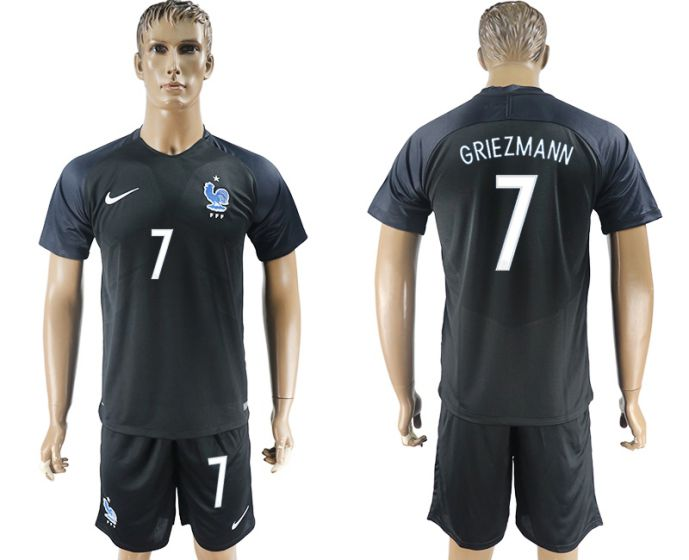 Men 2017-2018 National France away 7 black soccer jersey