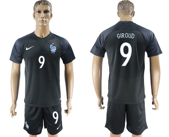 Men 2017-2018 National France away 9 soccer jersey