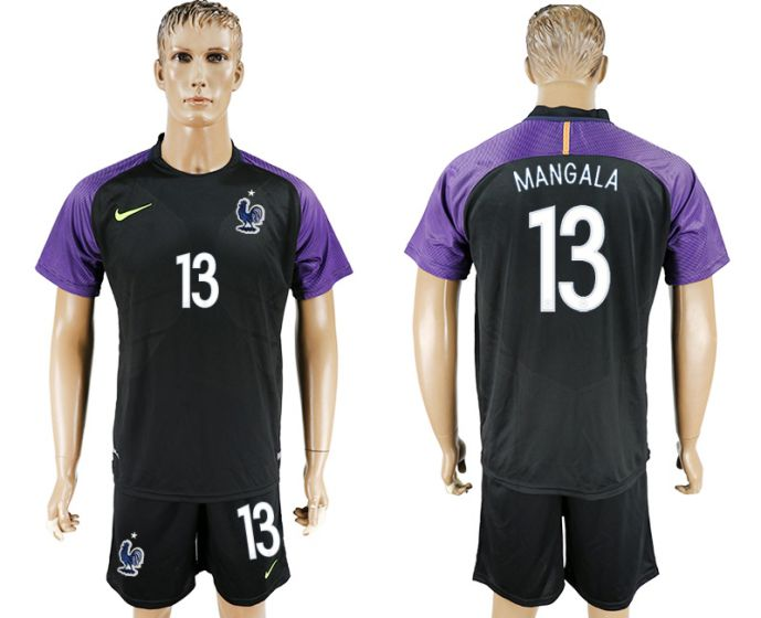Men 2017-2018 National French black Goalkeeper Soccer Jersey 13 soccer jersey
