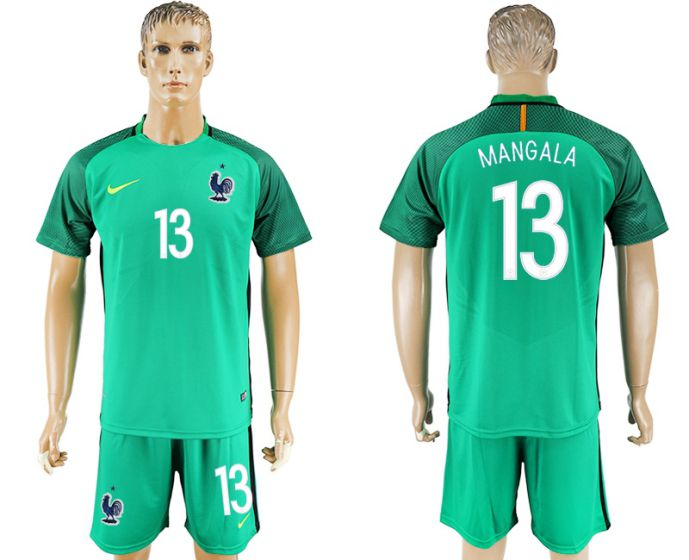 Men 2017-2018 National French green goalkeeper 13 soccer jersey