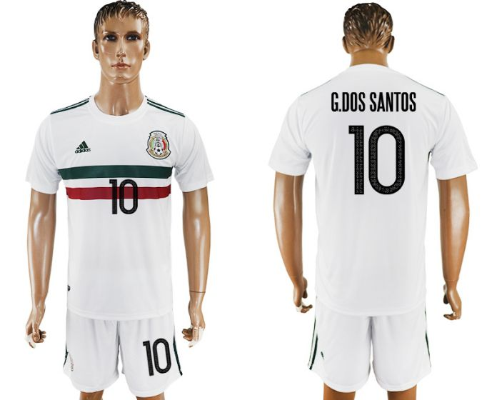 Men 2017-2018 National Mexico away 10 white soccer jersey
