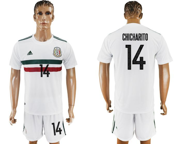 Men 2017-2018 National Mexico away 14 soccer jersey