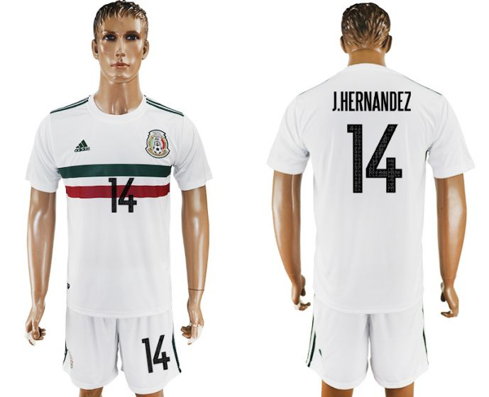 Men 2017-2018 National Mexico away 14 white soccer jersey