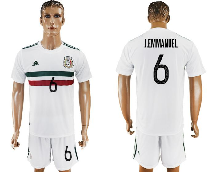 Men 2017-2018 National Mexico away 6 white soccer jersey