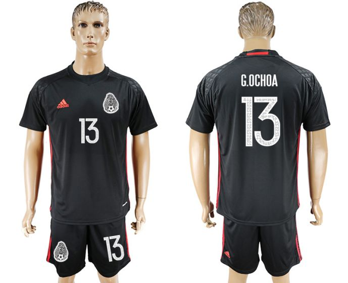 Men 2017-2018 National Mexico black goalkeeper 13 soccer jersey